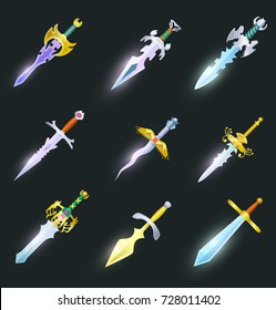 Magic swords cartoon icons set. Collection of decoration weapon for computer game design. Rapier, sabre, broadsword, stiletto, dagger and knife objects. Fantasy battle competition vector illustration.