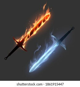 Magic swords in fire and ice