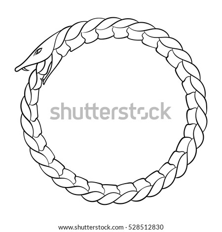 Magic Symbol Ouroboros Tattoo Snake Biting Stock Vector Royalty