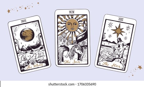 Magic Tarot deck vector background with major arcana: the moon, star, sun. Occult and fortune telling concept. Vector hand drawn vintage style