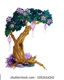 Magic tree with flowers isolated