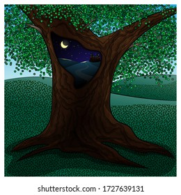 Magic tree with a hollow tree. Vector illustration