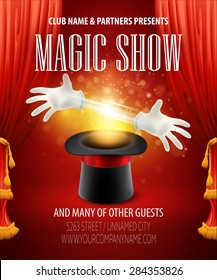 Magic trick performance, circus, show concept. Vector illustration EPS 10