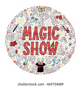 Magic trick performance, circus, show concept. Hand drawn vector illustration.