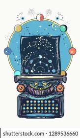 Magic typewriter. Symbol of imagination, literature, philosophy, psychology, imagination. Antique typewriter with paper prints Universe, surreal t-shirt design and art poster