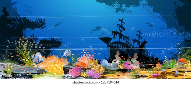 The magic of the underwater world - underwater images and living together and the beauty of fish, corals, sea anemones and beautiful and colorful rocks in the summer - vector