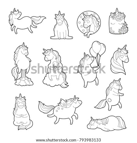 Magic Unicorn Adult Coloring Pages Trendy Stock Vector Royalty Free