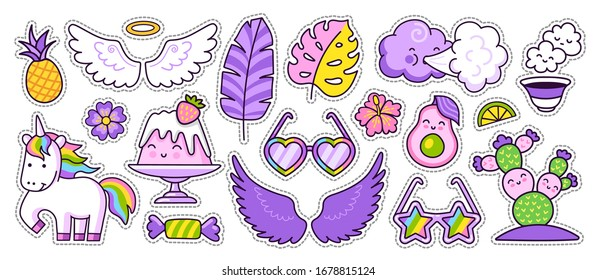 Magic unicorn, avocado, tropical leaves, wings, cactus. Cartoon style. Colorful stickers, badges, pins, patches. Vector illustration.