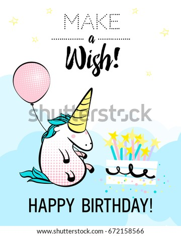 Magic Unicorn Birthday Card Vector Illustration Stock Vector