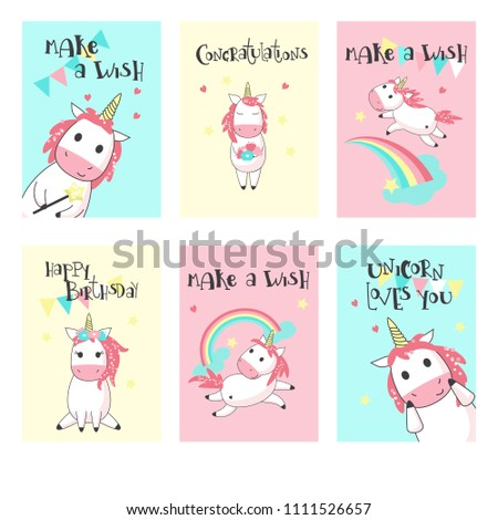 Magic Unicorn Birthday Greeting Cards Vector Hand Drawn Illustration Happy Card Templates For