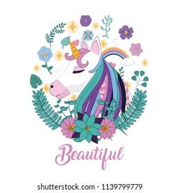 Magic unicorn cartoon