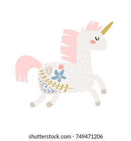 Magic unicorn childish illustration. Stay unique text with fairy pony.Vector Illustration. Perfect for baby and kids design,t-shirt prints,nursery decoration,poster,cards