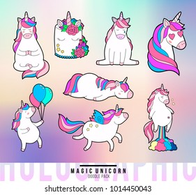 Magic unicorn doodle patches. Trendy pink unicorn sticker pack with rainbow and different emotions: love, dream, sad, happy, farting rainbow. Holographic back texture. Vector illustration.