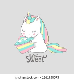 Magic Unicorn Eat Sweet Birthday Cake Poster Print. Cute Greeting Card Template with Adorable Happy Fancy Horse. Can be used for t-shirt print, kids wear fashion, baby shower invitation. Vector