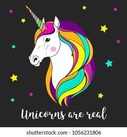 Magic unicorn. Graphic illustration. Fairy tale