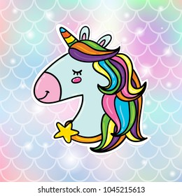 Magic unicorn head with rainbow hairs sticker badge pin vector illustration on gradient soft fish scale background. Card or poster design concept