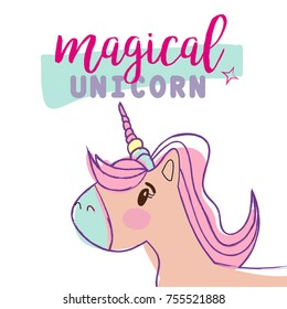The magic unicorn. Isolated abstract unicorn sketch on a T-shirt, poster, wallpaper, cover, clothing, fabric, textiles.