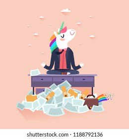 Magic unicorn office worker concept. Cute cartoon unicorn sitting in yoga lotus pose on an office table with a lot of papers