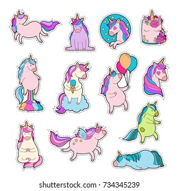 Magic unicorn patches. Trendy pink unicorn sticker pack with rainbow and different emotions: love, dream, sad, happy, farting rainbow. Teenage pin set. Zombie pony. Vector illustration.