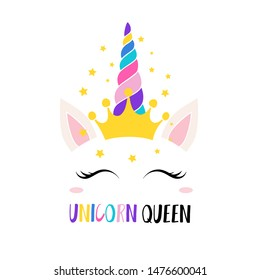 Magic unicorn queen inspiration card vector illustration. Pretty equine closing eyes. Cartoon cute sleepy face with amazing glittering crown and rainbow horn flat concept. Isolated on white