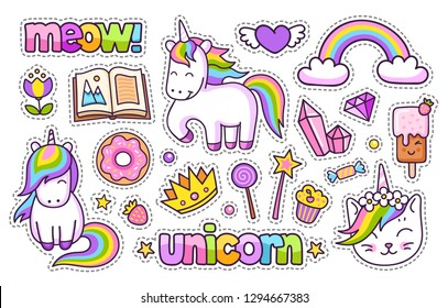 Magic unicorn, rainbow, book, meow, crown, ice cream, crystal, diamond, heart, book, donut. Set of cartoon stickers, patches, badges, pins, prints for kids. Doodle cartoon style. Vector illustration.