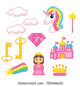 Magic unicorn rainbow icons set. Pixel art. Old school computer graphic style. Games elements.