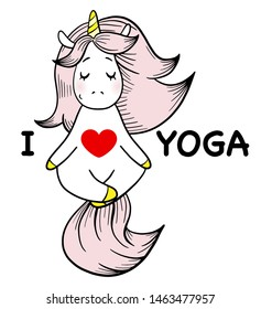 Magic unicorn is relaxing and doing yoga. I love yoga text.