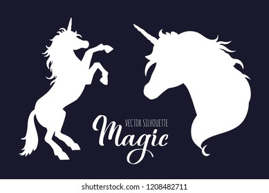 Magic Unicorn  silhouette collection . Vector hand drawn illustration for print, banner, poster.