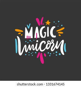 Magic Unicorn sing. Hand drawn vector illustration and lettering. Cartoon style. Isolated on black background. Design for holiday greeting cards, logo, sticker, banner, poster, print.