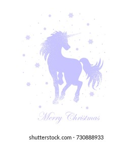 magic unicorn in the snow,background for inscription and postcards, vector illustration