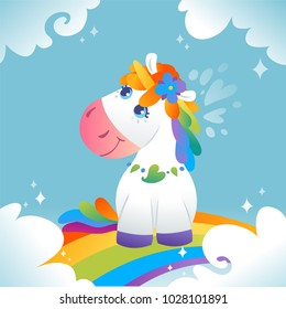 Magic Vector Unicorn with rainbow mane and horn seting on the rainbow