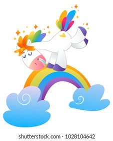 Magic Vector Unicorn with rainbow mane and horn isolated on white background.