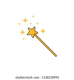 magic wand cartoon illustration with stars vector