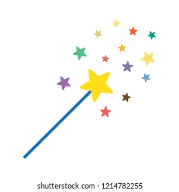 magic wand cartoon illustration with stars vector