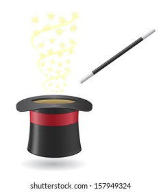 magic wand and cylinder hat vector illustration isolated on white background