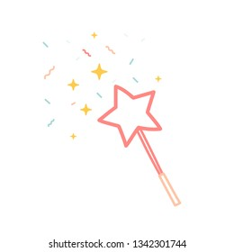 magic wand doodle. . Isolated on white background. Flat design. Vector illustration