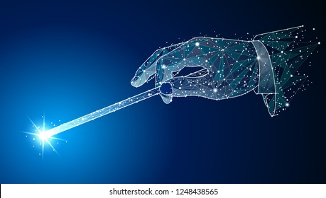 Magic wand. Hand holding a Abstract design. In the form of stars and space. polygonal image mash line.For Poster, Cover, Label, Sticker, Business Card Vector illustration.