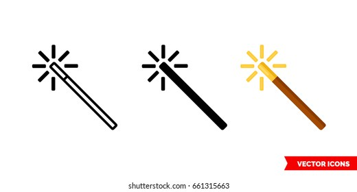 Magic wand icon of 3 types: color, black and white, outline. Isolated vector sign symbol.