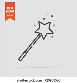 Magic wand icon in flat style isolated on grey background. For your design, logo. Vector illustration.