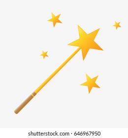 Magic wand icon. Isolated on white background. Flat vector stock illustration