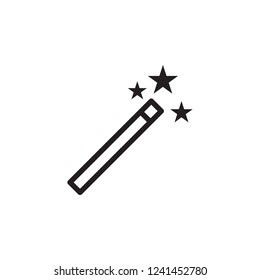 Magic wand icon vector. Magic wand sign outline on white background. Flat style for graphic design, logo, Web, UI, mobile app, EPS10