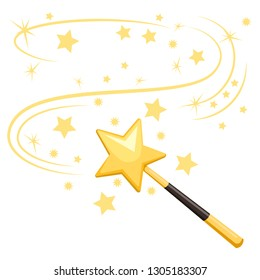 Magic wand isolated on white background. Star with stick. Vector flat design