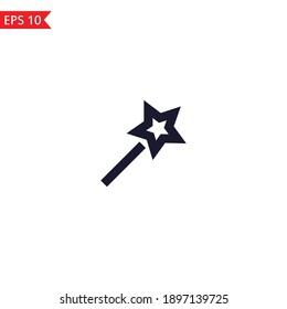 Magic wand line icon Vector