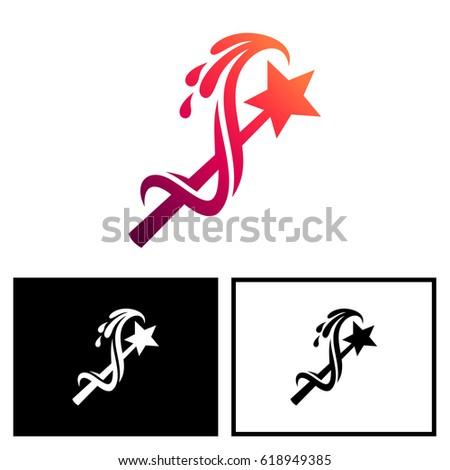 Magic Wand Logo Stock Vector Royalty Free 618949385 Shutterstock