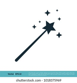 Magic Wand, Magician Stick Wizard Icon Vector Logo Template