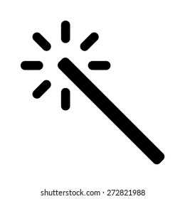 Magic wand photo enhance filter line art vector icon for apps and websites