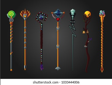 Magic wand set. Fantasy staff collection. Cartoon style, game design concept.