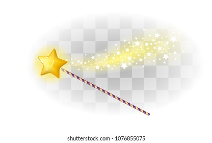 Magic wand with star and sparkles. Magician accessory.