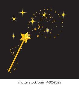 magic wand with stars