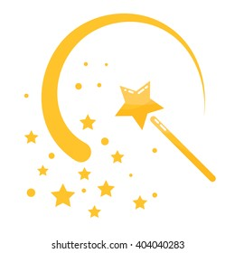 Magic wand stars flat icon cartoon illustration. Isolated magic stick with sway wave track.